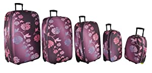 5 Cities Lightweight Wheeled Trolley Luggage Suitcase Flight Bag - Cabin 18 220kg 22 Litre 48x32x19 3 Expmax Cabin 21 250kg 31 Litre 55x355x20 3exp Large 26 Xlarge 29 Xxlarge 32 Frenzy Purple Flower 21