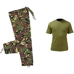 Juego de diseño de Camuflaje para niños 1 diseño de Estampado Militar Pantalones y Disfraz de T-Camiseta de Manga Corta Unisex, Color Camo and Olive Green, tamaño 12-13 años