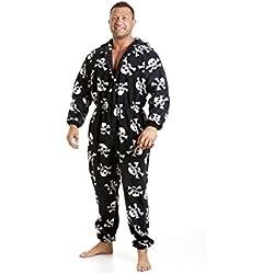 Pijama polar de una pieza de hombre - Calaveras en blanco/negro - Talla S a 5XL L