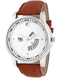 WM White Dial Brown Leather Strap Premium Branded Limited Edition Day And Date Collection Watch For Men DDWM-060...