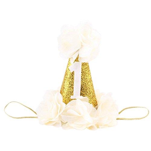 Hocaies Mignon Chapeau Anniversaire Conique aux Paillette Scintillant avec Corde Elastique pour Bébé Fille Garçon (04)