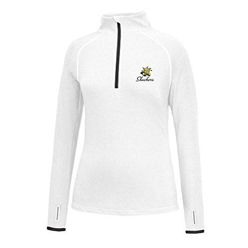 J America NCAA Frauen 'S Script Logo Power Durch Poly 1/2 Zip Jacke, Damen, Power Through 1/2 Zip, Wichita State Shockers, Small