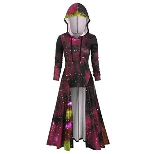 Sllowwa Mittelalter Umhang Damen Gothic Steampunk Mittelalter Langarm Elegant Mit Kapuze Kleid Bodenlangen Cosplay Renaissance Kostüm Lang Halloween Kostüm(Wein,Medium) (Kleinkind Wildes Kind Ninja Kostüm)