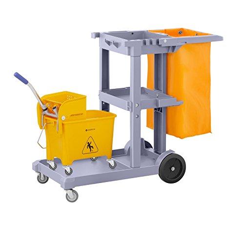 Singercon Reinigungswagen mit Wäschesack und Putzwagen CON.JT-WBWC Set (3 Abstellflächen, Räder 360° drehbar, Wäschebeutel, Putzeimer mit Trennsystem)
