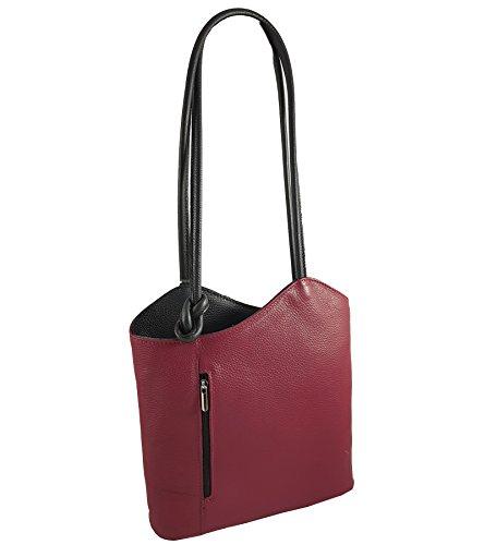 Freyday 2 in 1 Handtasche Rucksack Designer Luxus Henkeltasche aus Echtleder in versch. Designs (Glattleder Bordeaux-Schwarz)