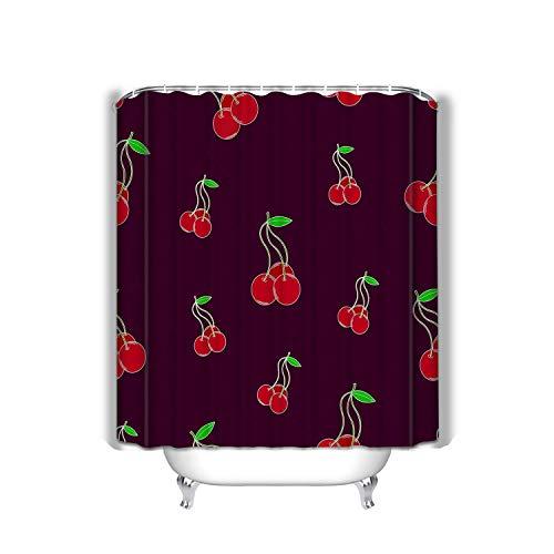 hyjhytj Beach Shower Curtain Bright Lovely Cherries Purple Bright Lovely Cherries Happy Fabric Bathroom Decor 60 X 72 Inch