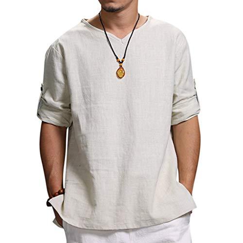 Rosennie Herren Hemden Sommer Baumwolle Leinen Shirt Langarm Leinenhemd aus Mode Bluse Top Herren Regular Fit Freizeithemd Casual T-Shirt Solid Langarm-Shirts für Männer Langarm Bluse