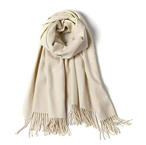 MISS&YG Schal Winter Kaschmir Massive Farbe Schal Solid Farbe Warmen Wollschal,Beige -