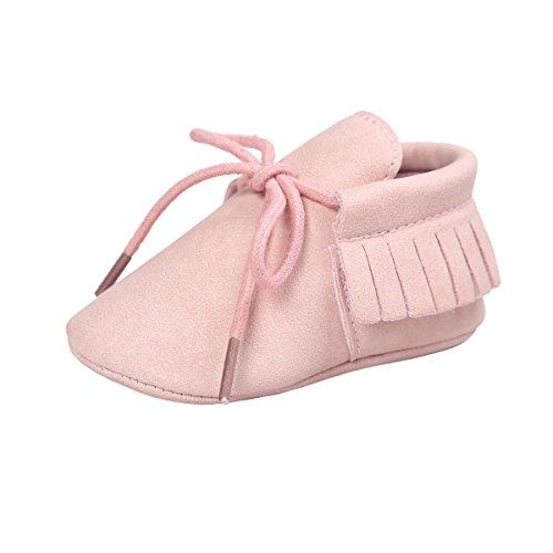 Baby Rosa Mokassins (ESTAMICO Baby Jungen Mädchen Weiche Sohle Quaste Schnüren Sneakers Mokassins Schuhe Rosa 0-6 Monate)