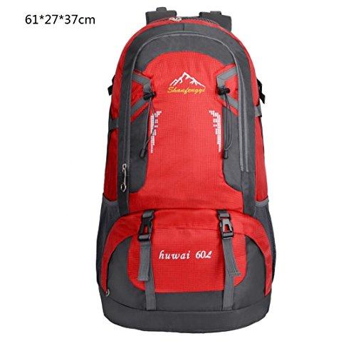 LQABW Outdoor Sport Mountaineering Freizeit Reisen Schulter Wandern Männliche Und Weibliche Wasserdichte Rucksack-Tasche Red