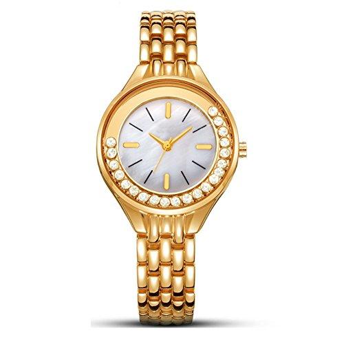 LJXAN Le Signore guardano Il Modo Leggero Casuale della Cinghia d'Acciaio Casuale con la vigilanza Femminile del Quarzo dell'orologio del Cristallo di Rocca ZYXCC (Colore : Oro)