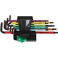 Wera 05073599001 Torx Key Set 967 SPKL/9 TORX BO Multicolour Tamper-proof/Ballend, TX8-40, 9-Piece