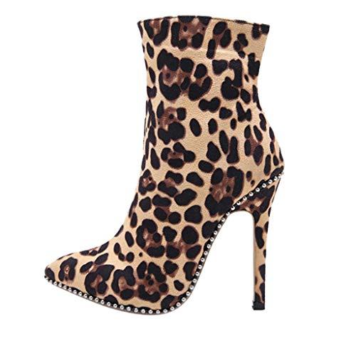 Botines para Mujer Otoño Invierno Botas, Tacón Aguja De Leopardo Retro Zapatos De Moda con Cremallera Puntiaguda De Ante (41 EU, Amarilla)