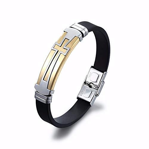 Thumby Männlich Religion Kieselgel Kreuz Schnalle Zubehör Armband Titan Stahl Silikon Kreuz Männlich Armband Armband Armband, Gold