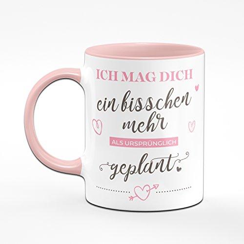 Tasse Ich Mag Dich Ein Bisschen Mehr als ursprünglich geplant - Kaffeetasse Rosa Liebesgeschenke Geschenk für Verliebte - Tasse Lieblingsmensch - 2