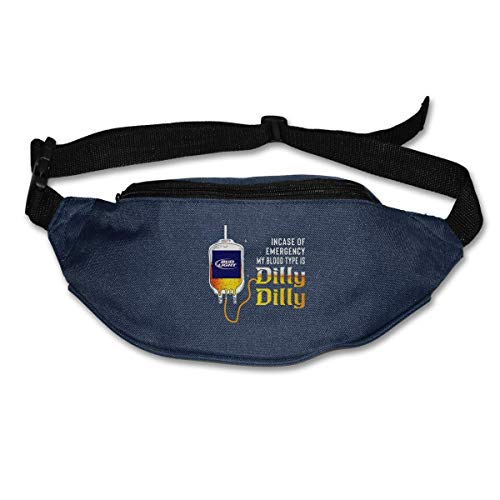 shengpeng25 Bud Light Incase of Emergency My Blood Type is Dilly Dilly Waist Bag Pouch Travel Pocket Wallet Bum Bag for Running Cycling Hiking Workout