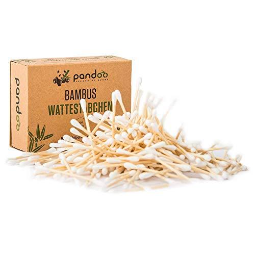 pandoo Hisopos de Algodón y Bambú Biodegradables de Cultivo Orgánico | Bastoncillo Ecológico y Versátil | Aplicadores Sostenibles y Compostables | Resistencia al Agua | 4 Cajas de 200 (800) - 7.5 cm