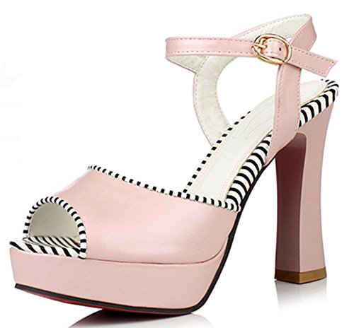 Aisun Damen Sexy Peep Toe Kunstleder Plateau Gestreift Westernabsatz Sandale Mit Schnalle Pink