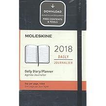 Agenda diaria 2018 12 meses, de bolsillo, tapa blanda (color negro)