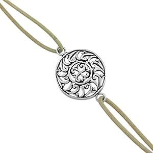 925 Silver Floral Designer Silver Rakhi Bracelet-17750