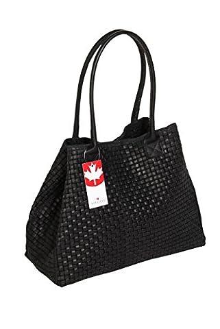 'Bernstyn Genuine Leather (Basketweave Design) Lady Black Handbag Tote Shoulder Bag Shopper Style Multi-Functional Bag