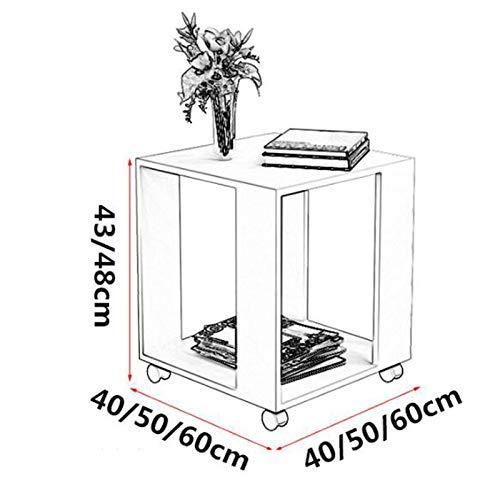 Afanyu Afanyu kleiner Couchtisch Wohnzimmer Sofa Beistelltisch Schlafzimmer Nachttisch quadratischer Tisch mit Rädern,Teak,50 * 50 * 48 cm (Kunststoff-tisch Mit Rädern)