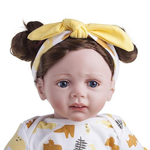 LWKBE Lebensechte Reborn Baby Puppe realistische Vinyl Puppe 22