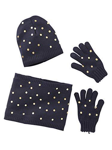 Vertbaudet Mädchen-Set: Mütze, Snood und Handschuhe nachtblau 98/116