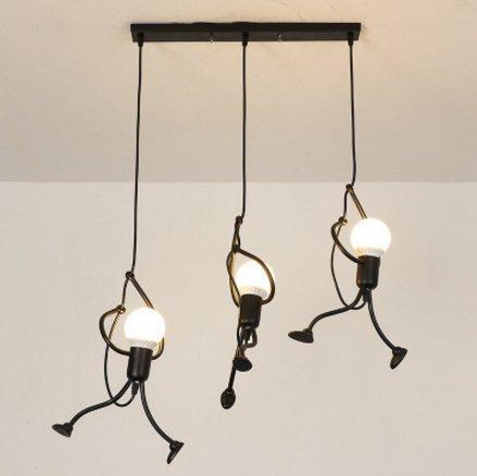 E27 Lampe Suspension - Humanoïde Lampes de Plafond - Hauteur réglable - Luminaire suspendu vintage Pour le salon salle à manger bar cafétéria ((3 Tête Plateau rectangulaire))