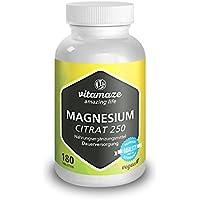 Magnesio citrato 250 mg 180 compresse vegetali in confezione scorta per sei mesi, prodotto di qualità tedesca. Confezione unica (1 x 198 g)