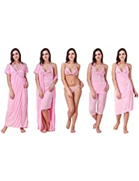 Freely Baby-Pink color Satin Honeymoon wear - Pack of 6