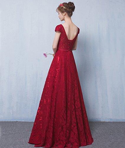 LuckyShe Elegant Lang Spitze Rückenfrei Abendkleider Ballkleider Brautjunferkleider 35#Blau