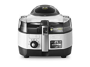 De'Longhi MultiFry Extra Chef FH1394/2 Heißluftfritteuse/Multicooker (1,7 kg Fassungsvermögen, 1.400W/1.000W, 8 Portionen, SHS-Double-Pro, Rezepte-App) grau/weiß