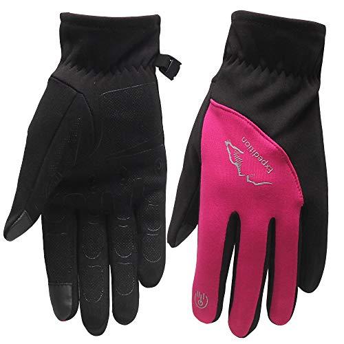 HTTOAR Guantes de Ciclismo para Mujer, Invierno cálido, Guantes táctiles para Ciclismo para Exteriores con Pantalla táctil a Prueba de Agua (Pink Black, S)