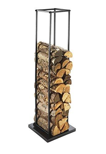 Kaminholzständer Feuerholzregal von kobolo aus Metall 33 x 33 x 115 cm schwarz lackiert