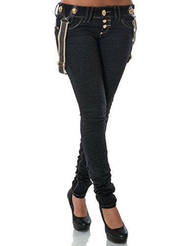 Damen Jeans Hose Skinny (Röhre Hosenträger) No 14186 Schwarz 38 / M