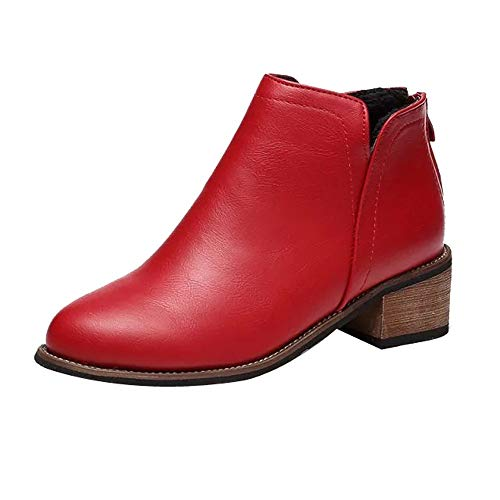 Goosuny Damen Stiefeletten Modische Frauen Martin Stiefel Boots Mit Keilabsatz Plateau Wedges Schuhe Einfach Lässig Slip Ons Kunstleder Lederstiefel Freizeitschuhe Herbststiefel(Rot,36 CN)