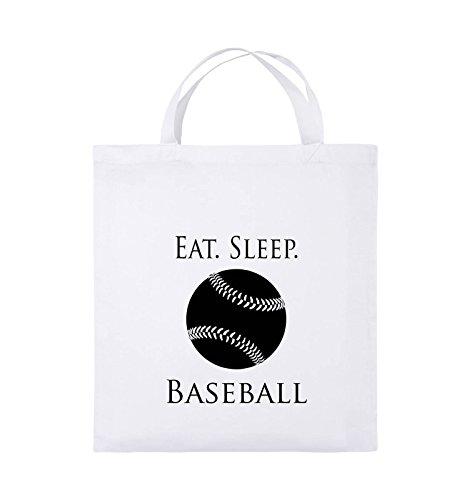 Borse Comiche - Mangia. Il Sonno. Baseball - Palla - Borsa Di Juta - Manico Corto - 38x42 Cm - Colore: Nero / Rosa Bianco / Nero