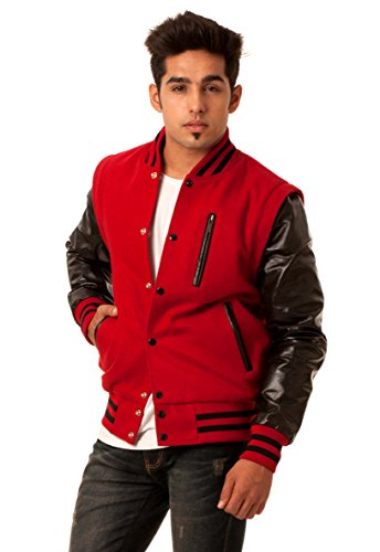 Melton Wool Letterman Jacket (Black Leather Sleeves & Scarlet Red Wool Body Transformer Varsity Jacket-Men XXX-Large)