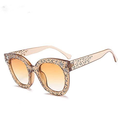 CHJKMN Retro quadratische Sonnenbrille-Frauen-Entwurfs-rosa Rhinestone-Stern-übergroße Sonnenbrille-Brown-Weiß-Schwarz-Schatten für Frau