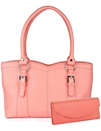 Goldmine Designer Hand Bag And Clutch Combo For Girls And Women's (Peach) Party Ware