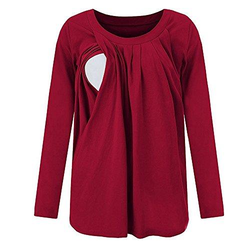 Damen 2 in 1 Stilltop Stillshirt Patchwork Doppelschicht Lange Ärmel Bluse T-Shirt Mama Lose Mutterschaft Stillpackung Tops (Rot, L)