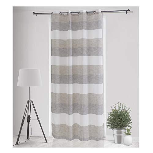 Gogostyle - tenda per interni mod. dafne,modern style, tinto in filo, tessuto bouclè, mis. 140x280cm, colore beige