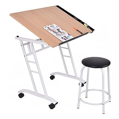 Zeichentisch Schreibtisch Architektentisch Bürotisch mit Rollen neigbar +
