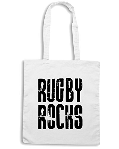 T-Shirtshock - Borsa Shopping TRUG0059 rugby rocks kids logo Bianco