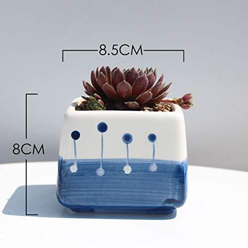 Azure Blau Keramik (LUOSHEN Moderner Übertopf Azure Farbserie handgemalte saftige Blumentopf pflanzt Bunte Töpfe, blau-blaues Eiswasser-4, wie abgebildet)