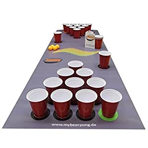 Beer Pong Set DarkGrey inklusive Spielfeld, 25 Red Solo