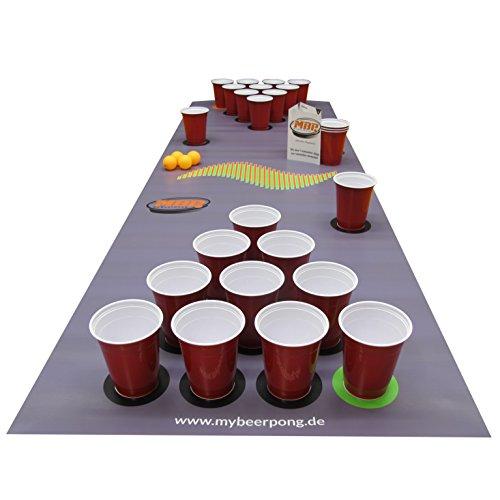 Beer Pong Set DarkGrey inklusive Spielfeld, 25 Red Solo Cups, 4 Beerpong Bälle & mehr, die Alternative zum Beer Pong Tisch