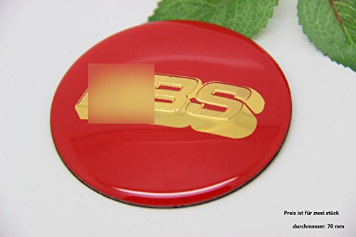 R213 BB 2 stück Felgendeckel rot gold 3D Emblem Abziehbild Auto Aufkleber Nabendeckel Radkappen Nabenkappen 70 mm (Ford Nabendeckel Embleme)