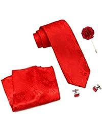 COCO CHANEL Men's Silk Stain Resistant Necktie, Pocket Square, Cufflinks Set (Red, Free Size)